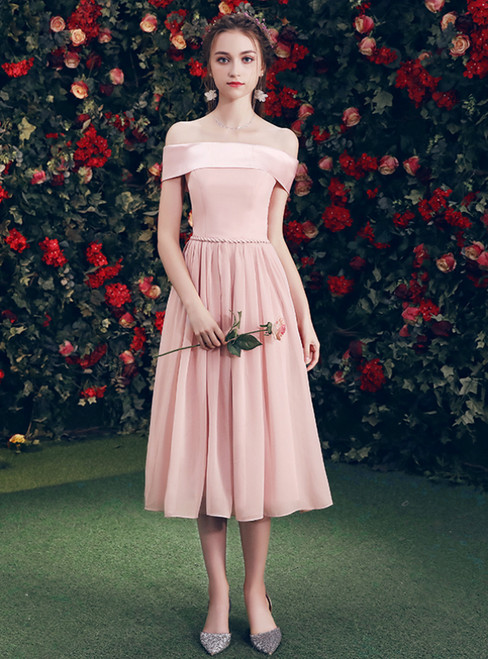 In Stock:Ship in 48 Hours Pink Chiffon Off The Shoulder Bridesmaid Dress