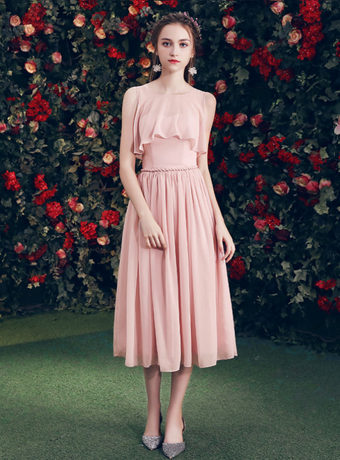 In Stock:Ship in 48 Hours Pink Chiffon Short Bridesmaid Dress
