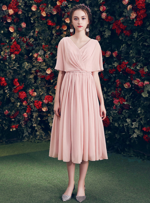 In Stock:Ship in 48 Hours Pink Chiffon V-neck Backless Bridesmaid Dress