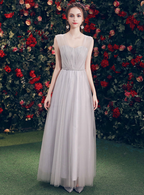 In Stock:Ship in 48 Hours Gray Tulle Sweetheart Neck Long Bridesmaid Dress