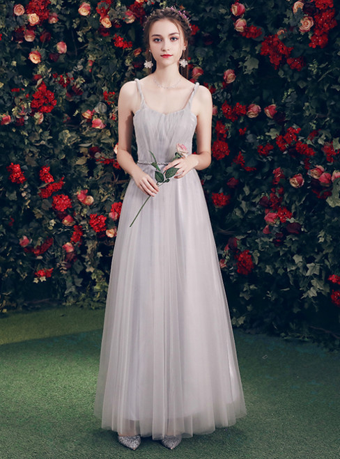 In Stock:Ship in 48 Hours Gray Tulle Straps Backless Bridesmaid Dress