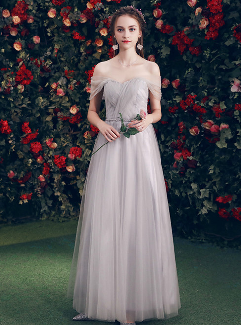 In Stock:Ship in 48 Hours Gray Tulle Off The Shoulder Bridesmaid Dress