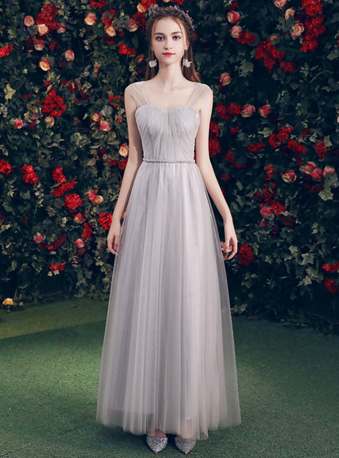 In Stock:Ship in 48 Hours Gray Tulle Sweetheart Backless Bridesmaid Dress