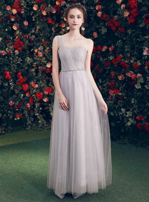 In Stock:Ship in 48 Hours Gray Tulle One Shoulder Bridesmaid Dress