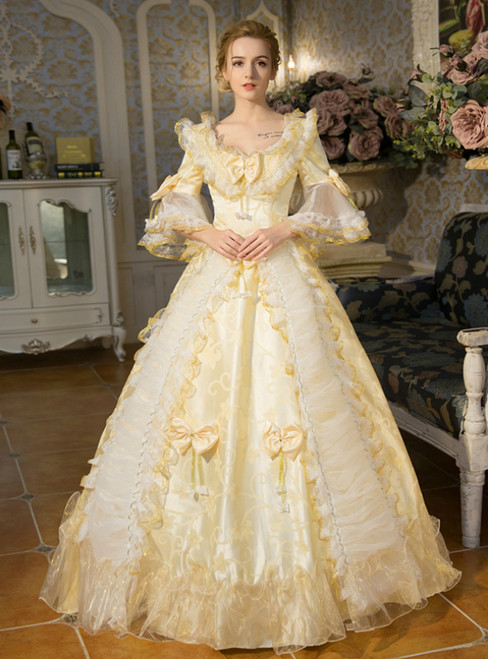 Yellow Ball Gown Puff Sleeve With Bow Drama Show Vintage Gown Dress