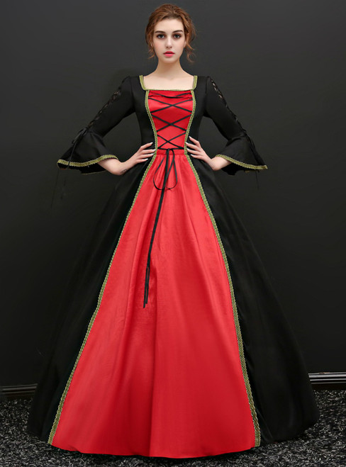 Black And Red Satin Puff Sleeve Drama Show Vintage Gown Dress