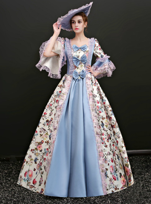 Blue Satin Print Puff Sleeve Square Vintage Gown Dress With Bow