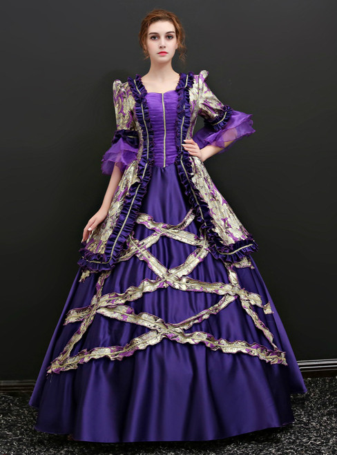 Purple Ball Gown Satin Puff Sleeve Print Drama Show Vintage Gown Dress