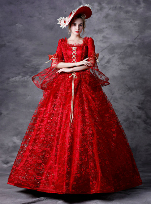 Red Ball Gown Lace Puff Sleeve Drama Show Vintage Gown Dress