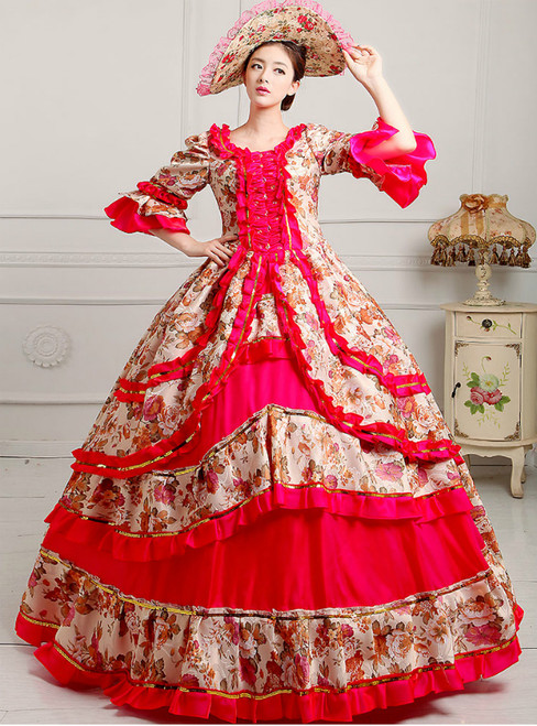 Red Ball Gown Print Puff Sleeve Drama Show Vintage Gown Dress With Crystal