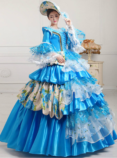 Blue Organza Sequins Puff Sleeve Vintage Gown Dress With Crystal