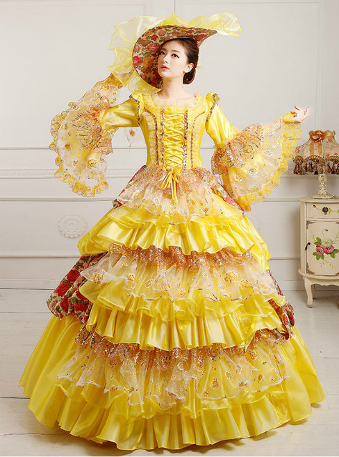 Yellow Organza Sequins Puff Sleeve Vintage Gown Dress With Crystal