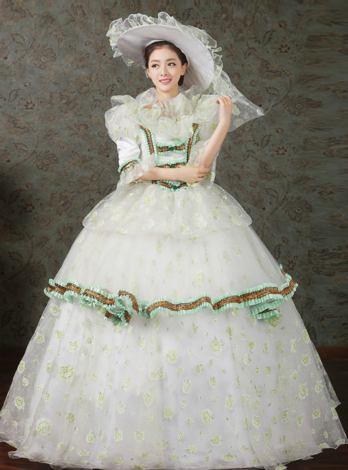 Green Print Ball Gown Lace Short Sleeve Drama Show Vintage Gown Dress