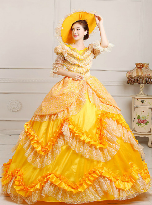 Yellow Ball Gown Satin Lace Short Sleeve Drama Show Vintage Gown Dress
