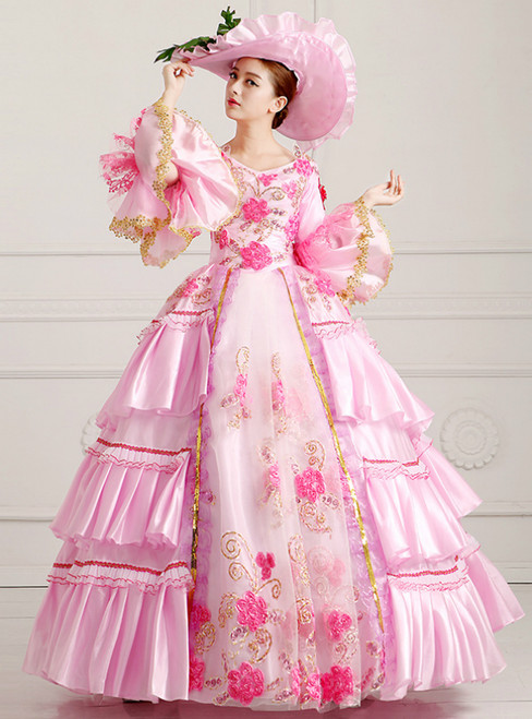 Pink Ball Gown Satin Puff Sleeve Sequins Drama Show Vintage Gown Dress