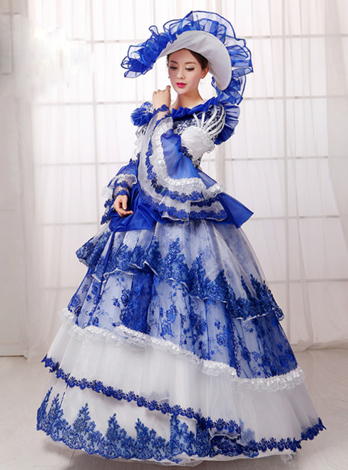 White Tulle Blue Lace Puff Sleeve Drama Show Vintage Gown Dress