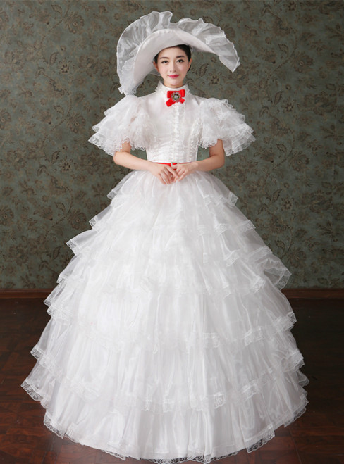 White Ball Gown Tulle Ruffle High Neck Puff Sleeve Drama Show Vintage Gown Dress