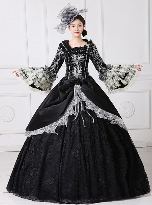 Black Ball Gown Satin Lace Puff Sleeve Drama Show Vintage Gown Dress