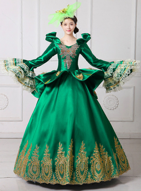Green Ball Gown Satin Long Sleeve Appliques Drama Show Vintage Gown Dress
