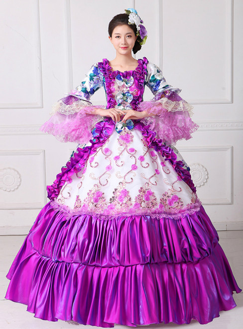 Purple Ball Gown Satin Print Puff Sleeve With Bow Drama Show Vintage Gown Dress