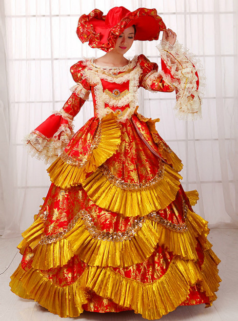 Gold And Red Satin Print Puff Sleeve Drama Show Vintage Gown Dress