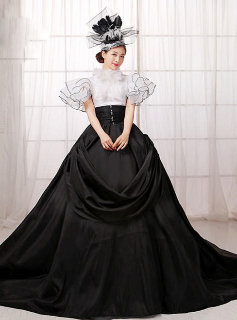 Black And White Satin Cap Sleeve High Neck Drama Show Vintage Gown Dress