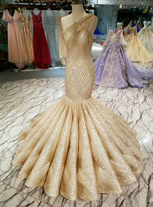 Champagne Gold Meramid One Shoulder Sequins Wedding Dress
