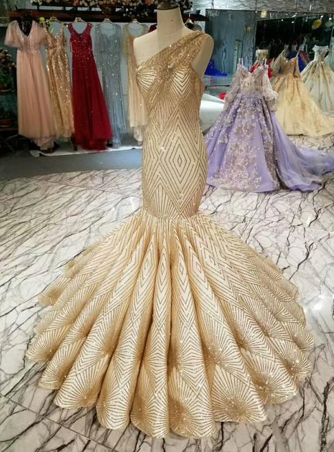Champagne Gold Meramid One Shoulder Sequins Wedding Dress