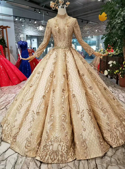 Champagne Gold Ball Gown Sequins High Neck Long Sleeve Wedding Dress