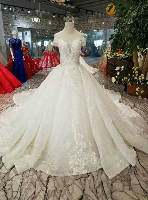 Ball Gown Sequins Off The Shoulder Appliques Wedding Dress With Removable Train