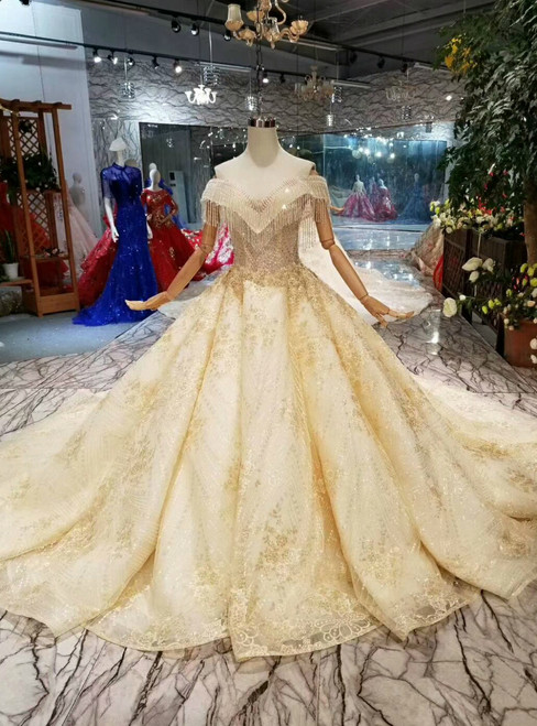 Champagne Ball Gown Lace Off The Shoulder With Beading Wedding Dress