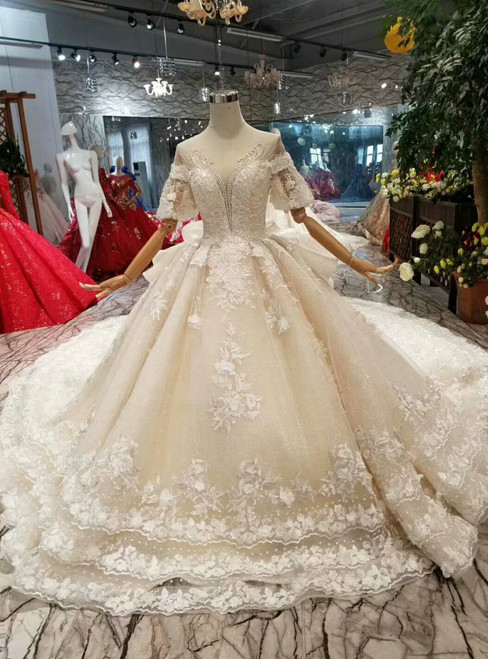 Champagne Ball Gown Tulle Lace Puff Sleeve Backless Wedding Dress With Beading