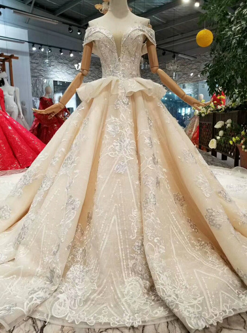 Champagne Tulle Appliques Off The Shoulder Wedding Dress With Train