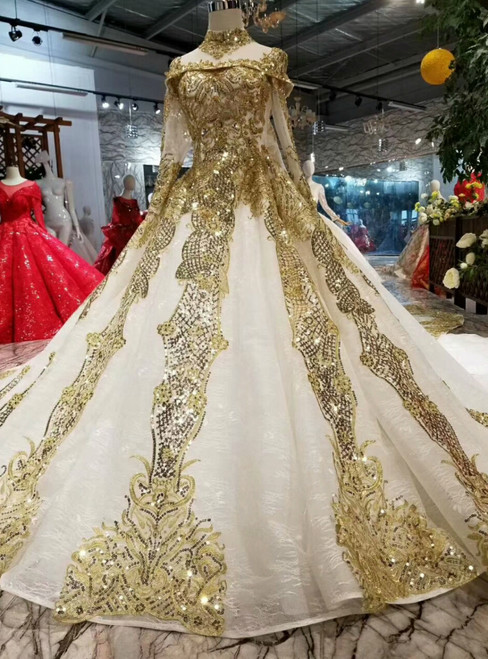 Ball Gown Gold Sequins Appliques Long Sleeve High Neck Wedding Dress Removable Train