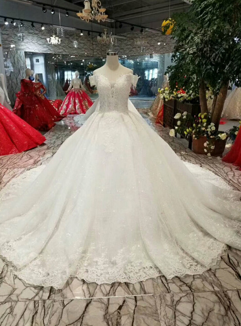White Ball Gown Tulle Sequins Off The Shoulder Wedding Dress With Beading