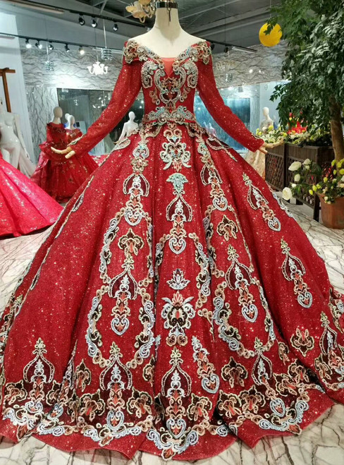 Red Ball Gown Sequins Off The Shoulder Long Sleeve Appliques Wedding Dress
