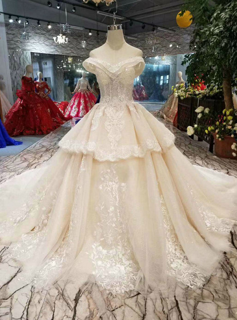 Champagne Tulle Appliques Off The Shoulder Beading Wedding Dress With Train