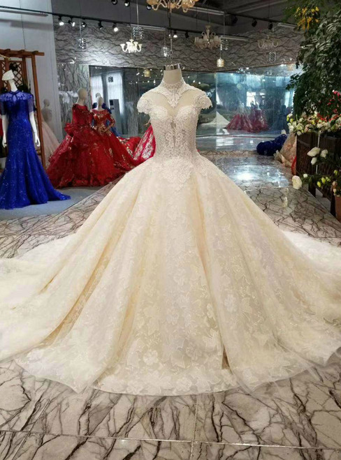 Champagne Ball Gown High Neck Cap Sleeve Backless Wedding Dress With Beading