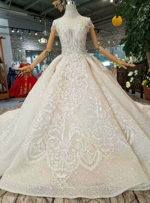 Champagne Ball Gown Lace High Neck Cap Sleeve Weddding dDress With Long Train