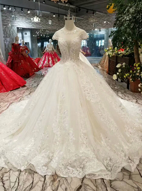 Champagne Ball Gown Tulle Appliques Wedding Dress With Beading