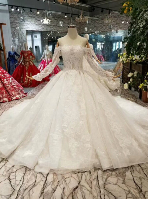 Light Champagne Ball Gown Tulle Appliques Off The Shoulder Long Sleeve Wedding Dress