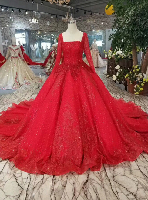 Red Ball Gown Tulle Sequins Square Neck Long Sleeve Wedding Dress