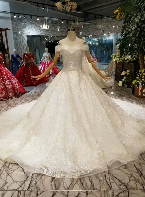 Light Champagne Ball Gown Tulle Appliques Off The Shoulder Wedding Dress With Long Train