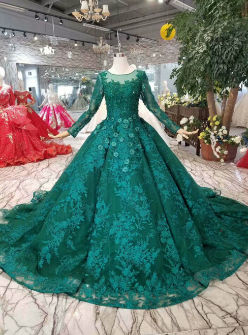 Green Ball Gown Tulle Lace Appliques Long Sleeve Wedding Dress