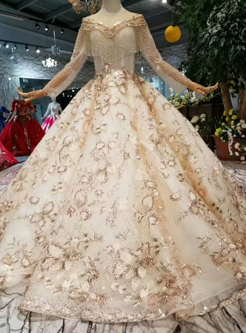 Champagne Ball Gown Sequins Tulle Long Sleeve Wedding Dress With Beading