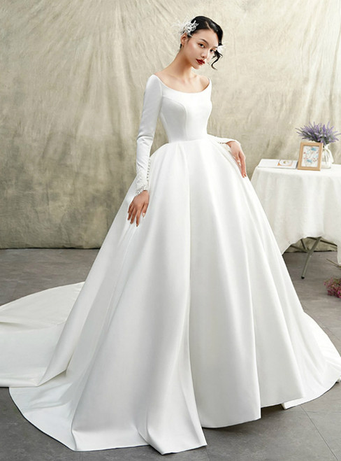 White Ball Gown Satin Bateau Long Sleeve Wedding Dress With Train