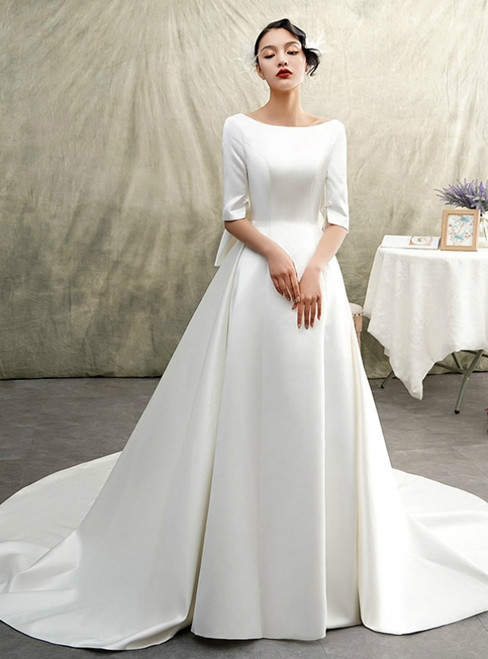 White Bateau Satin Half Sleeve Backless Wedding Dress With Big Bow