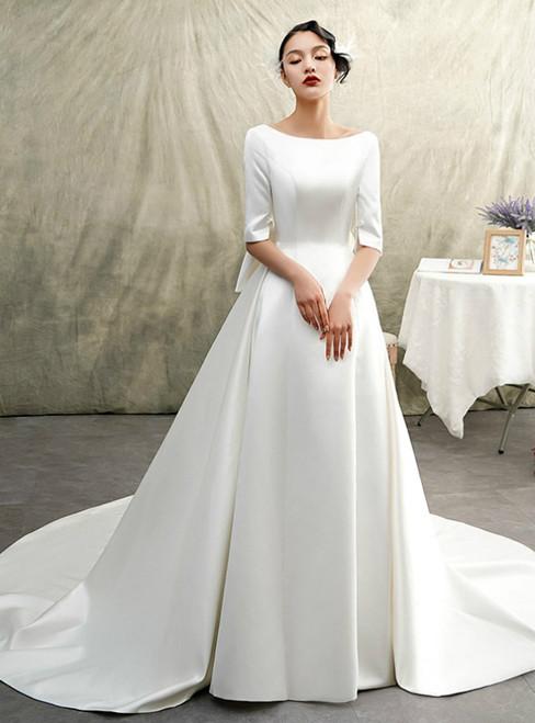 White Bateau Satin Half Sleeve Backless Wedding Dress With Big Bow