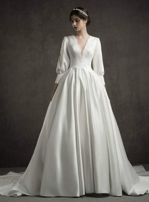 White Satin Deep V-neck Long Sleeve Wedding Dress With Train