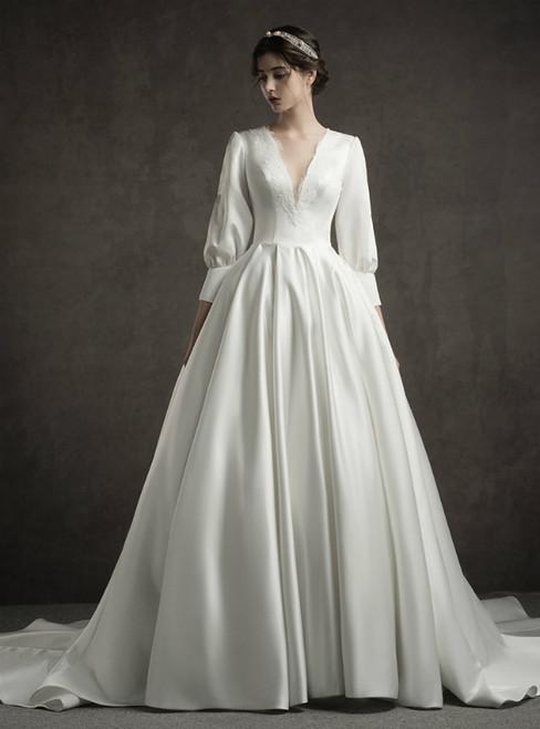 White Satin Deep V-neck Long Sleeve Wedding Dress With Train